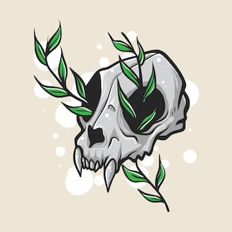 Cráneo animal con ilustración de hojas