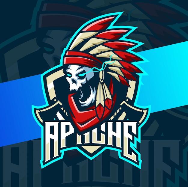 Cráneo apache mascota india esport logo