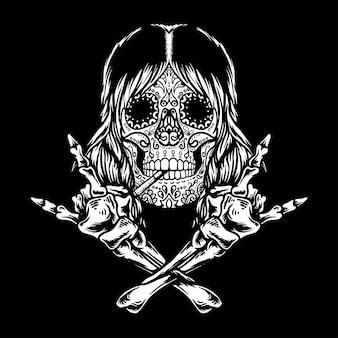 Cráneo de azúcar, rock and roll, aislado, fondo negro