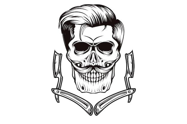 Cráneo baber shop dibujo a mano dibujo a mano ilustración