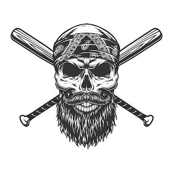 Cráneo de bandido barbudo y bigote vintage