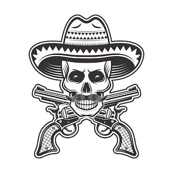 Cráneo de bandido mexicano en sombrero sombrero, con bigote y pistolas cruzadas ilustración en monocromo sobre fondo blanco.