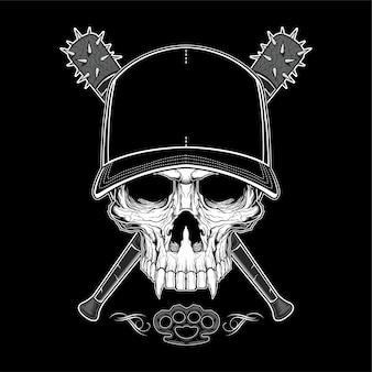 Cráneo de bandido vintage en gorra hipster y manos de esqueleto con ilustración aislada de bates de béisbol cruzados