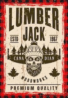Cráneo barbudo de leñador en gorro de punto y cartel de vector de sierra de mano en estilo vintage. texto y textura grunge separados en capas