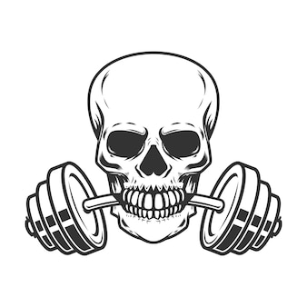 Cráneo con barra en los dientes.