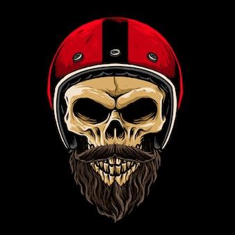 Cráneo de biker con ilustración barbuda