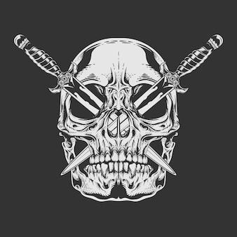Cráneo blanco y negro con la hoja cruzada pegada en los ojos