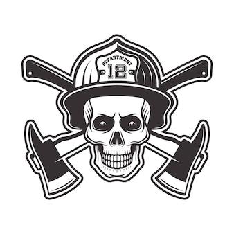 Cráneo de bombero en casco y dos ejes cruzados ilustración en monocromo sobre fondo blanco.