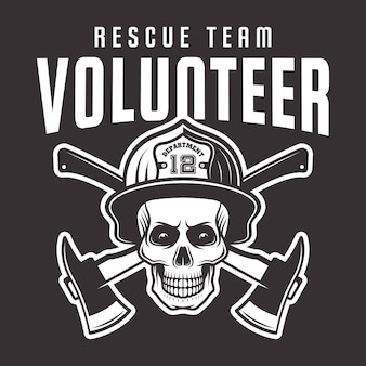 Cráneo de bombero en casco con inscripción emblema del equipo de rescate voluntario, etiqueta o camiseta impresa sobre fondo oscuro