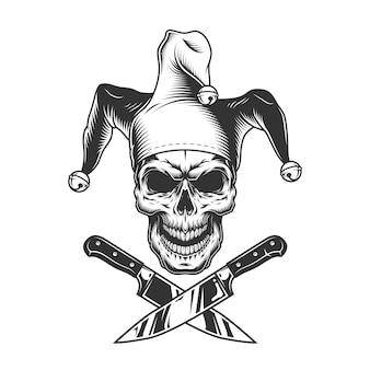 Cráneo de bufón malvado monocromo vintage