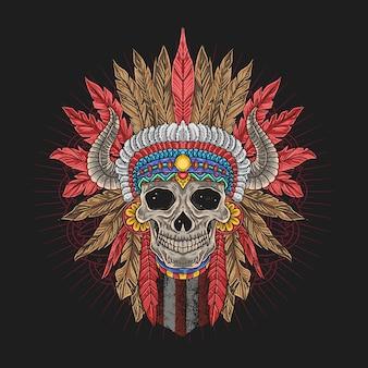 Cráneo cabeza de apache jefe cuerno tribu colorido