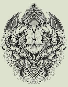 Cráneo de cabra con adorno grabado