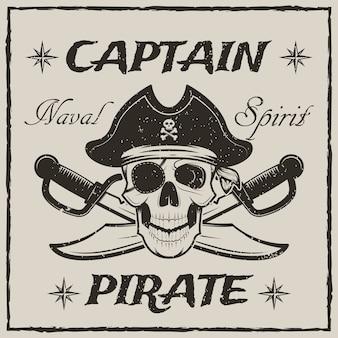 Cráneo del capitán pirata y espadas cruzadas boceto ilustración grunge