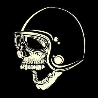Cráneo con casco cafe racer dibujo a mano vector