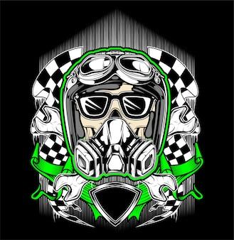 Cráneo casco de carreras con máscara de gas