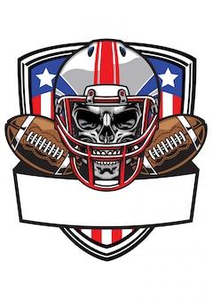 Cráneo con casco de fútbol americano