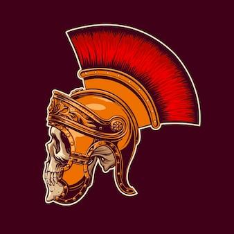 Cráneo en un casco de gladiador en estilo vintage para imprimir en camisetas, bolsos, tazas. ilustración vectorial.