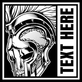 Cráneo con casco de gladiador