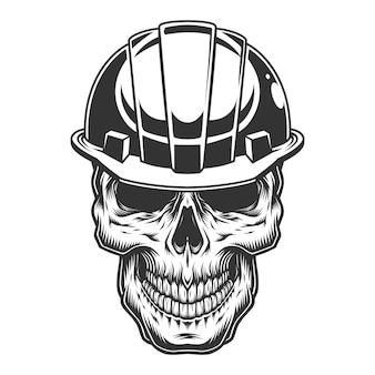 Cráneo en el casco minero