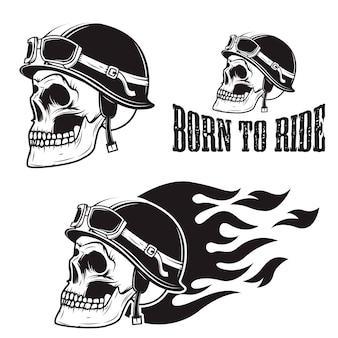 Cráneo en casco de moto con fuego. nacido para montar.