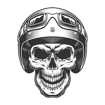 Cráneo en el casco de moto