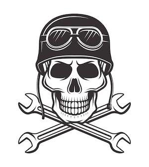 Cráneo en casco de motocicleta con gafas y dos llaves cruzadas ilustración monocroma sobre fondo blanco.