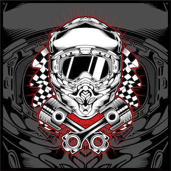 Cráneo casco motor cruz vector dibujo a mano vector