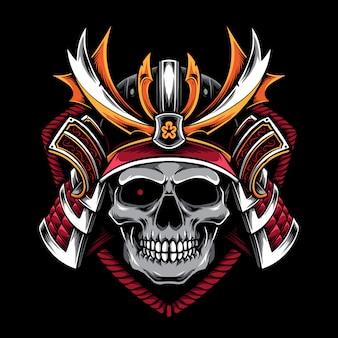 Cráneo con casco de samurai