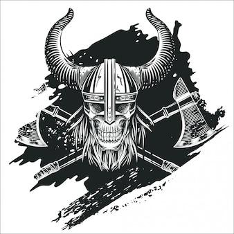 Cráneo en el casco del vikingo en el estilo de grabado.