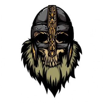Cráneo en el casco vikingo vikingo