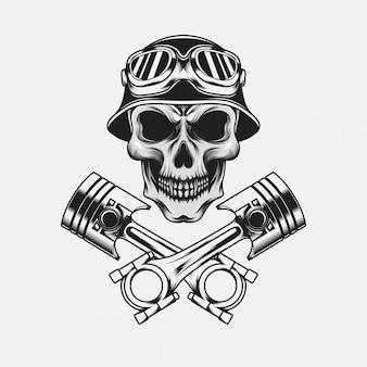Cráneo con casco vintage con pistón
