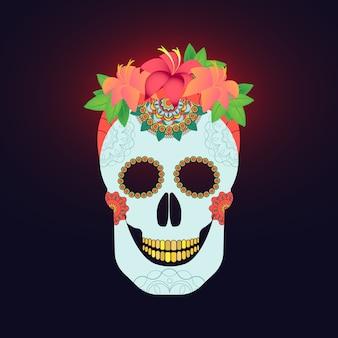 Cráneo de catrina mexicana tradicional con decoración de pintura y arreglo de flores de colores de primavera en el pelo