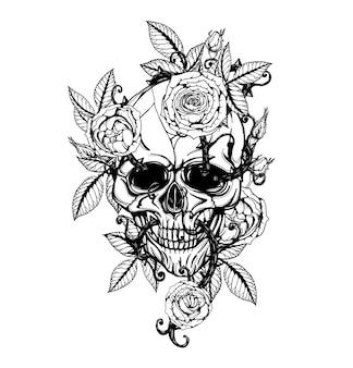 Cráneo con centifolia rosas tatuaje a mano dibujo.