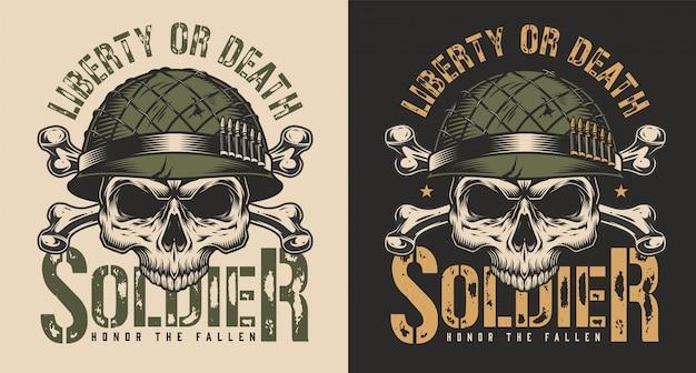 Cráneo en concepto de impresión de camiseta de casco de soldado