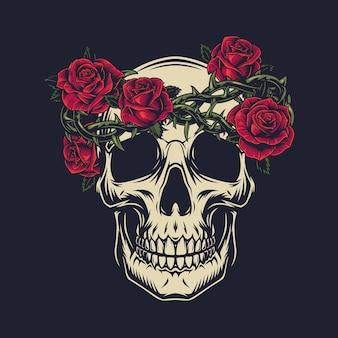 Cráneo con corona de alambre de púas decorado con rosas en estilo aislado
