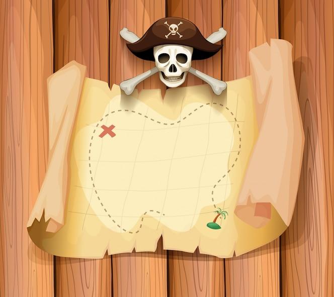 Cráneo del pirata y un mapa en la pared
