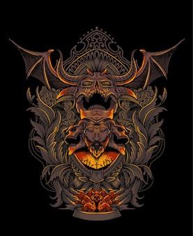 Cráneo de demonio aterrador con adorno grabado