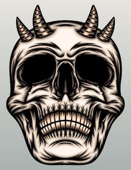 Cráneo de demonio con cuerno.