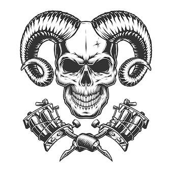 Cráneo demonio monocromo vintage