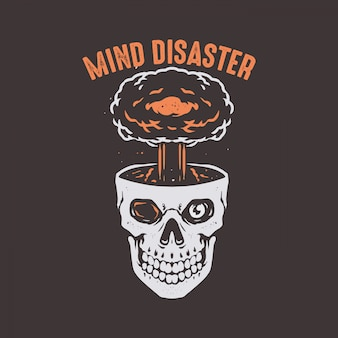 Cráneo de desastre mental con cabeza de explosión
