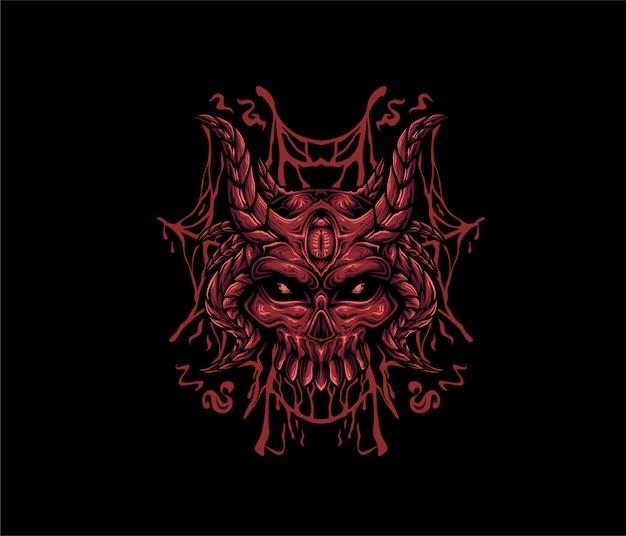 Cráneo diablo ilustración estilo geométrico