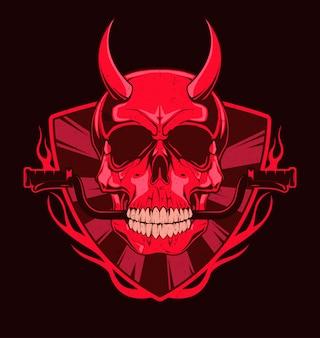 Cráneo del diablo con timón de motocicleta en los dientes.