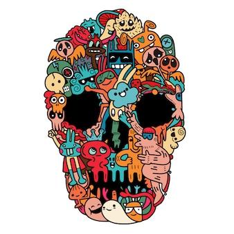 Cráneo dibujado a mano hecho de monstruo lindo