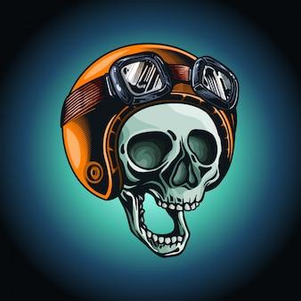 Cráneo dibujado a mano con ilustración de casco