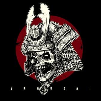 Cráneo dibujado mano que desgasta el casco del samurai