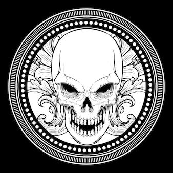 Cráneo con dibujo a mano adorno