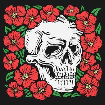 Cráneo de dibujo a mano colorido rodeado de ilustración de vector de flor rosa