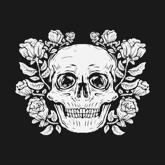 Cráneo de dibujo a mano rodeado por una ilustración de vector de flor rosa