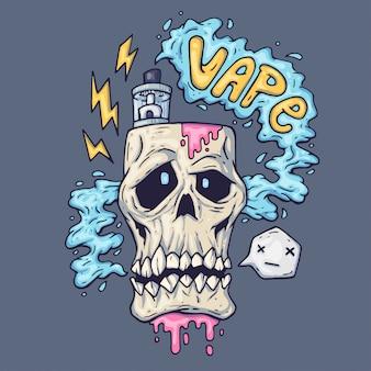 Cráneo de dibujos animados exhala vapor. ilustración para la industria del vaporizador