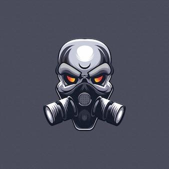 Cráneo con diseño de máscara de gas. logotipo de esport
